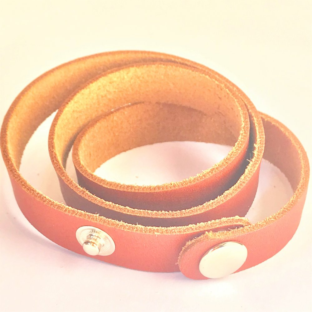 Wrap Around Wrist Strap<br>Terracotta Leather<br>15mm x 570mm