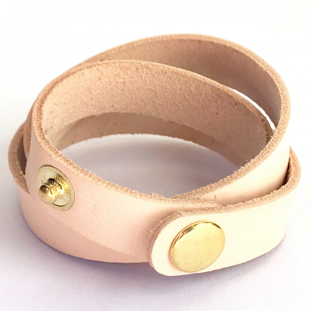 Wrap Around Wrist Strap<br>Natural Leather<br>15mm x 570mm