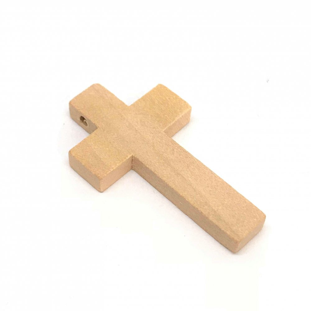 Cross Pendant<br>Light Brown Wood<br>24mm x 42mm