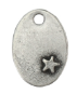 Oval with Star<br>Pewter Stamping Blank<br>28mm x 19mm
