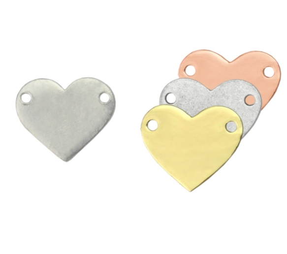 Heart with Holes<br>Pewter Stamping Blank<br>25mm x 22mm