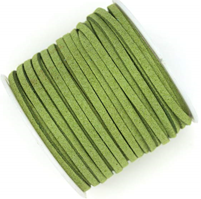 Mock Suede String<br>Lime<br>3mm x 4 metres