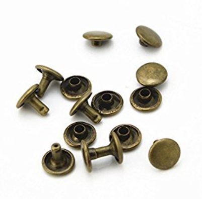 Tubular Rivets - Antique Brass<br>Mini 6mm Head / 8mm Stem<br>10 Pack
