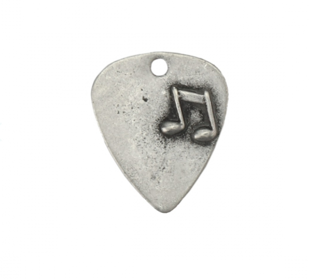 Guitar Pick with Heart<br>Pewter Stamping Blank<br>32mm x 34mm