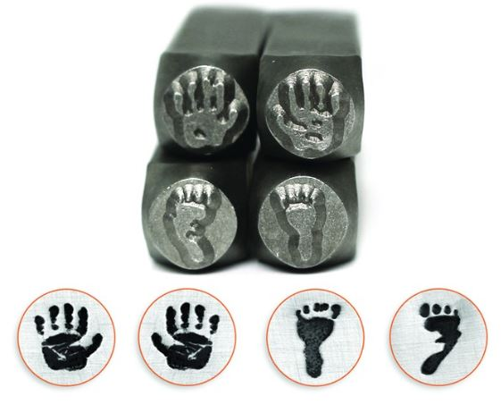 Hand and Footprints<br>Design Stamp Pack<br>4 Designs: 9.5mm