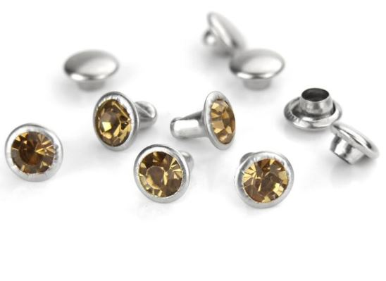 Czech Crystal Snap Rivets<br>Topaz<br>Round Shape, 5 pack