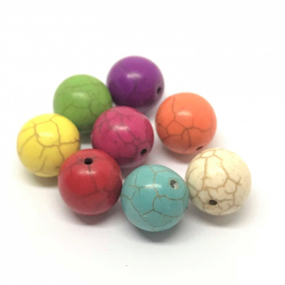Ball Howlite Bead<br>Assorted Colours<br>13mm