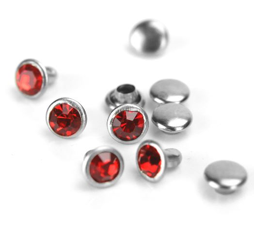 Czech Crystal Snap Rivets<br>Red<br>Round Shape, 5 pack