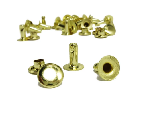 Tubular Rivets - Shiny Brass<br>Medium 7mm Head / 7mm Stem<br>10 Pack