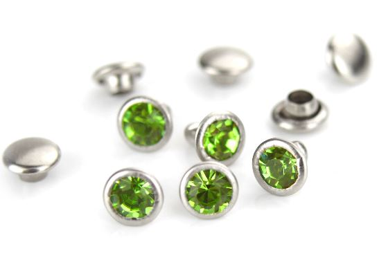Czech Crystal Snap Rivets<br>Peridot<br>Round Shape, 5 pack
