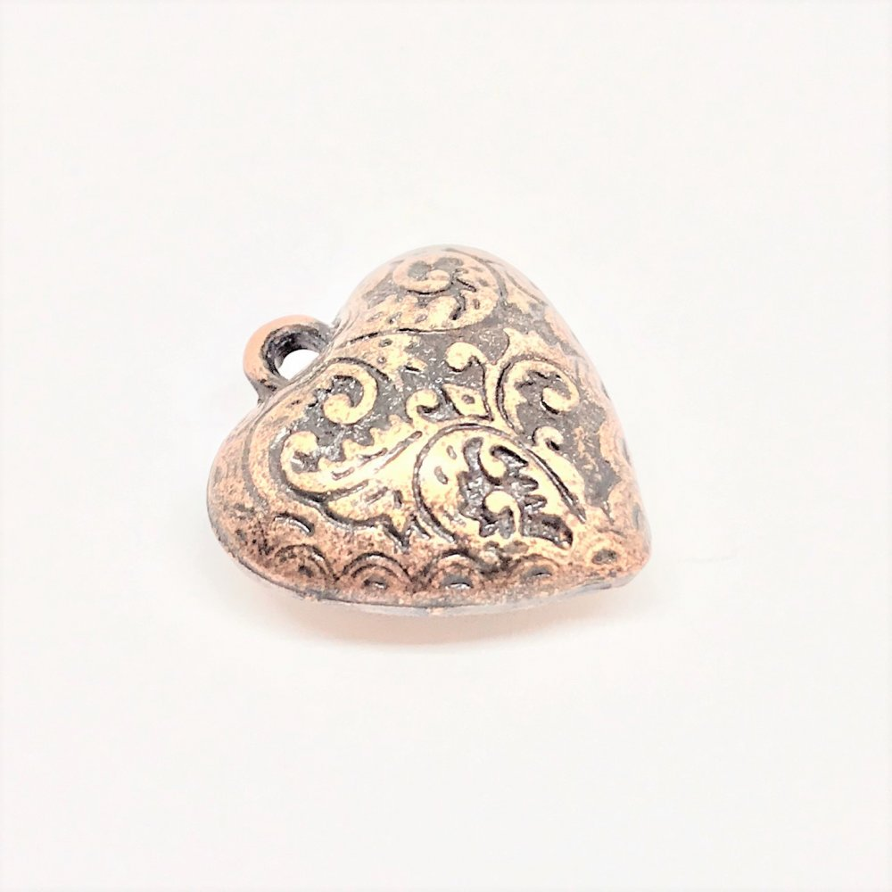 Embossed Heart Charm<br>Antique Copper Plated<br>20mm x 24mm