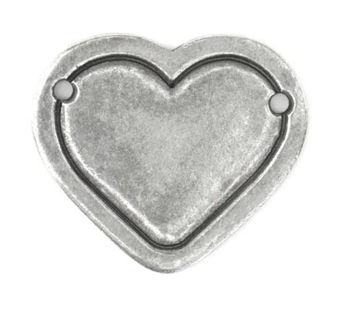 Heart Border Large<br>Pewter Stamping Blank<br>28.5mm x 25mm