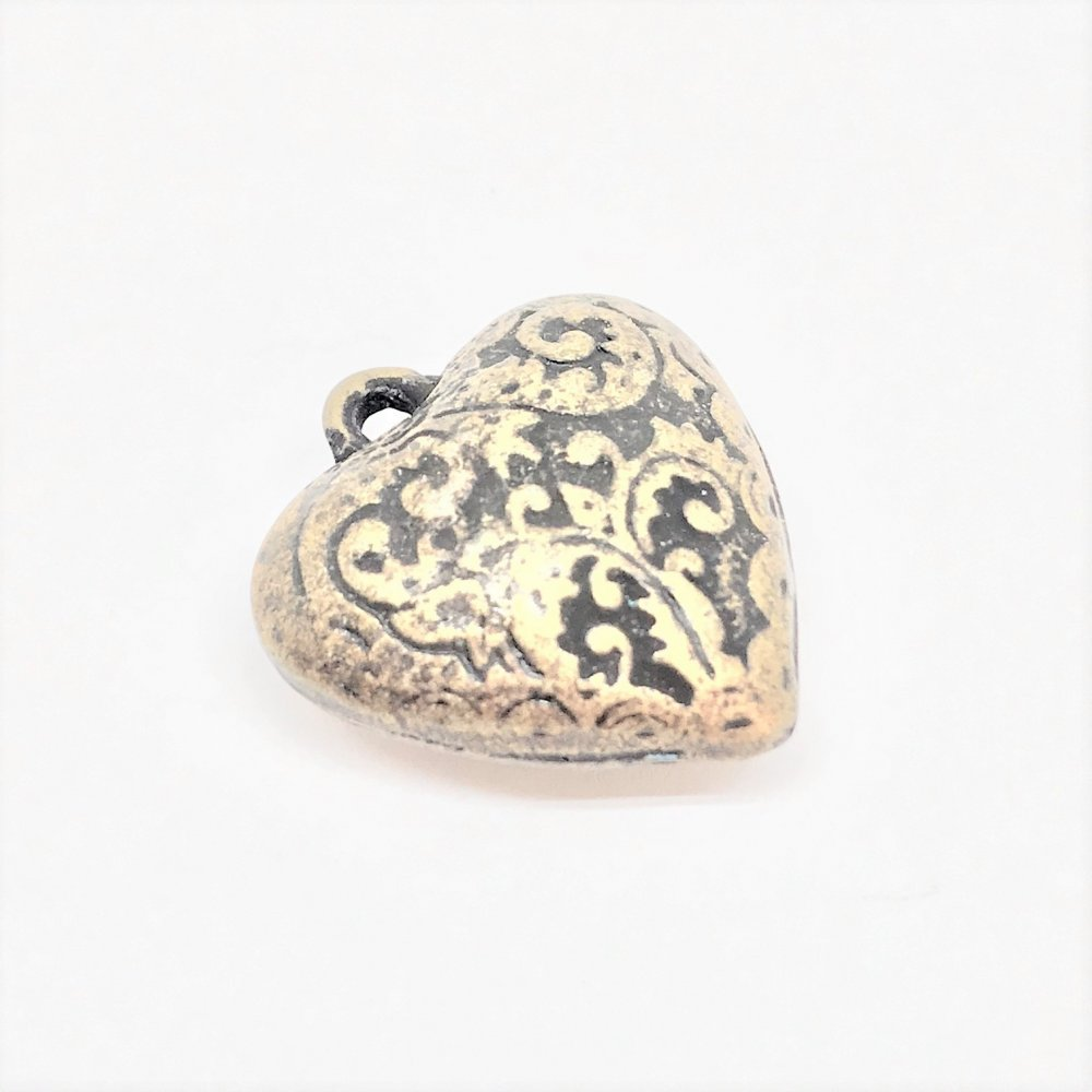 Embossed Heart Charm<br>Antique Brass Plated<br>20mm x 24mm