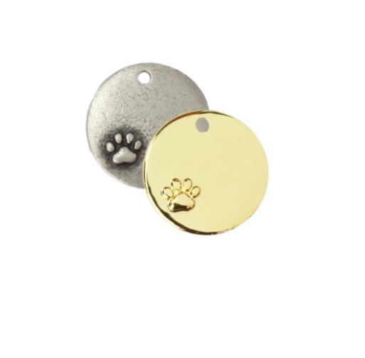 Circle with Pawprint Charm<br>Artisan Stamping Blank<br>25mm
