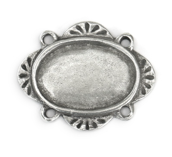 Artisan Oval<br>Pewter Stamping Blank<br>30mm x 24mm