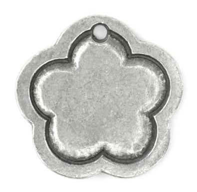Flower Border Large<br>Pewter Stamping Blank<br>24mm x 24mm