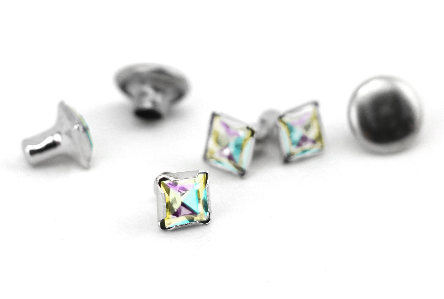 Czech Crystal Snap Rivets<br>Prism<br>Square Shape, 5 pack