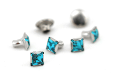 Czech Crystal Snap Rivets<br>Aquamarine<br>Square Shape, 5 pack