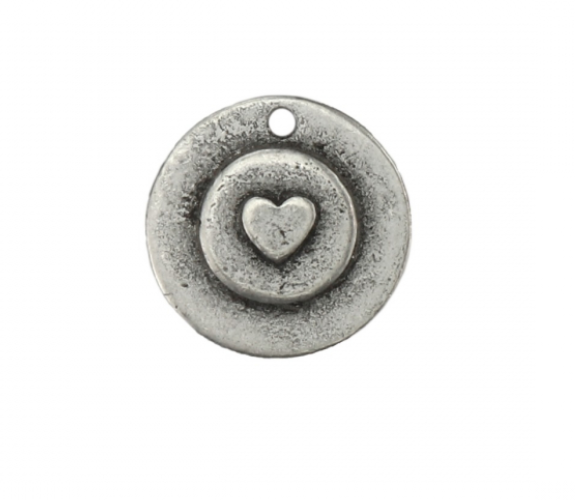Double Circle with Heart<br>Pewter Stamping Blank<br>28mm