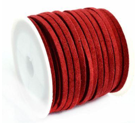 Mock Suede String<br>Red<br>3mm x 4 metres