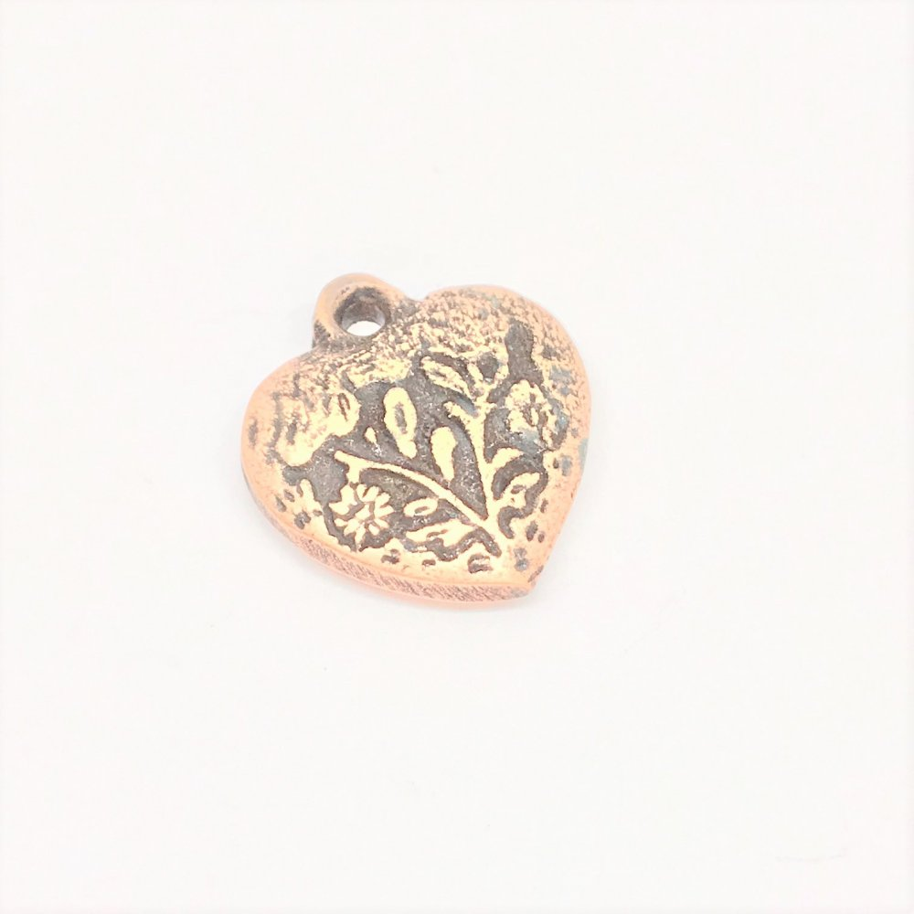 Embossed Heart Charm<br>Antique Copper Plated<br>13mm x 15mm