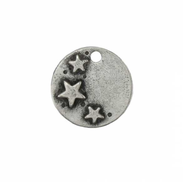 Circle with Stars<br>Pewter Stamping Blank<br>28mm