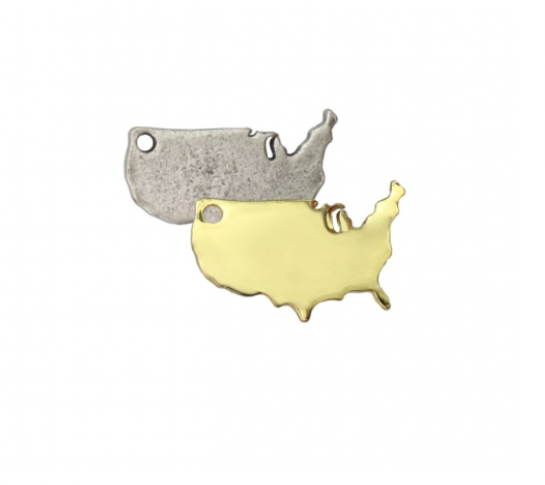 USA Charm<br>Artisan Stamping Blank<br>28mm x 19mm