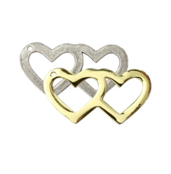 Double Heart Charm<br>Artisan Stamping Blank<br>45mm x 25mm