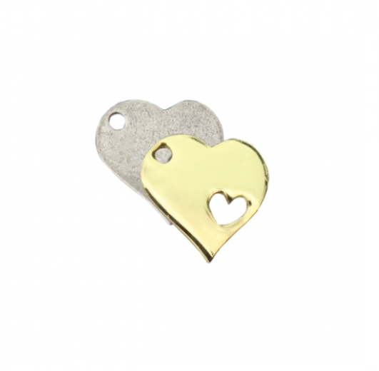 Heart with Heart Charm<br>Artisan Stamping Blank<br>25mm