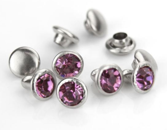 Czech Crystal Snap Rivets<br>Amethyst<br>Round Shape, 5 pack