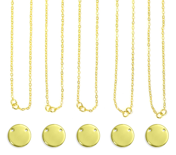 Personal Impressions<br>Large Circle - 5 Pieces<br>Gold Plated