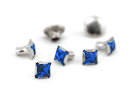 Czech Crystal Snap Rivets<br>Sapphire<br>Square Shape, 5 pack