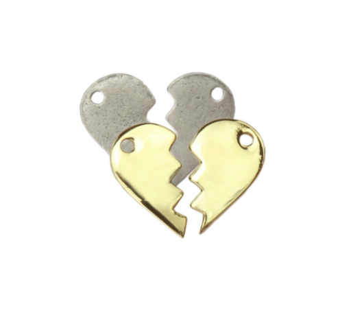 Friendship Heart Charm<br>Artisan Stamping Blank<br>25mm x 16mm