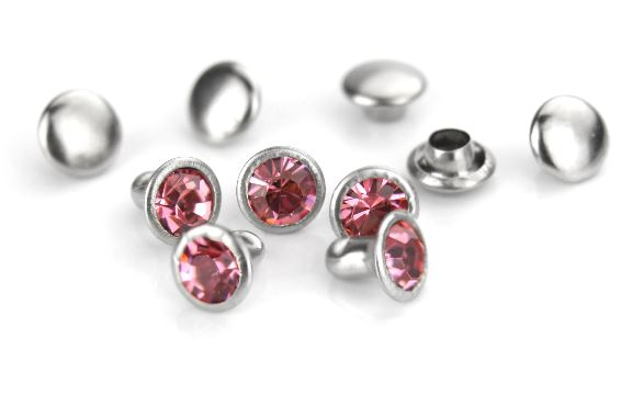 Czech Crystal Snap Rivets<br>Pink Tourmaline<br>Round Shape, 5 pack