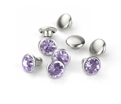 Czech Crystal Snap Rivets<br>Alexandrite<br>Round Shape, 5 pack
