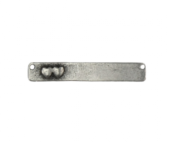 Rectangle Bar with Heart<br>Pewter Stamping Blank<br>41mm x 6mm