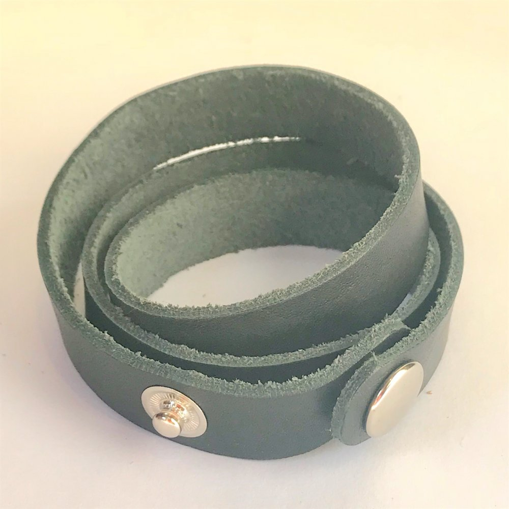 Wrap Around Wrist Strap<br>Black Leather<br>15mm x 570mm (Small)