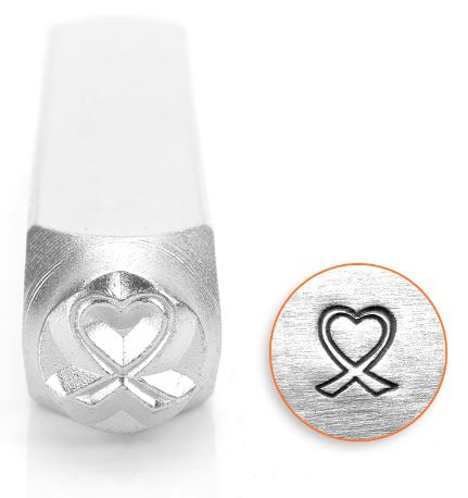 Heart Breast Cancer Ribbon<br>Design Stamp<br>6mm