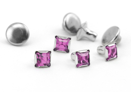 Czech Crystal Snap Rivets<br>Amethyst<br>Square Shape, 5 pack