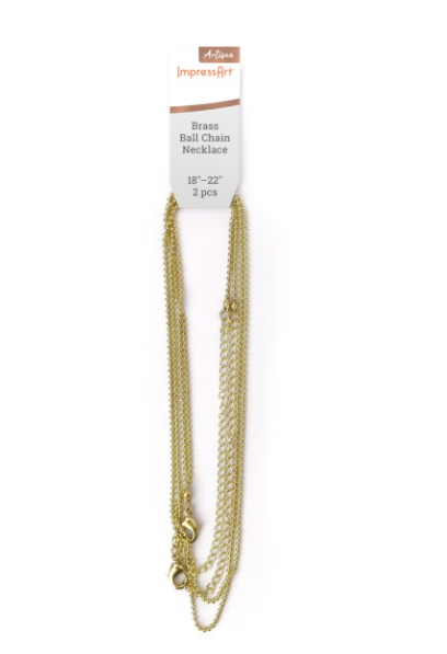 Ball Chain<br>Brass - 1.5mm<br>2 Pack 45 - 55cm