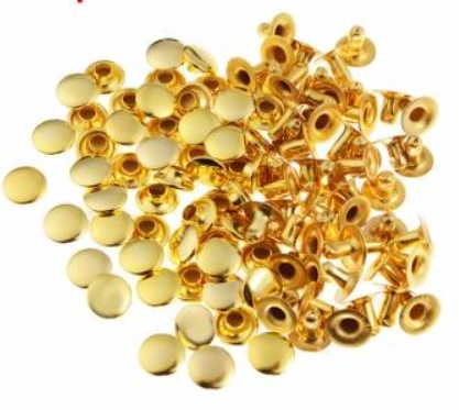 Tubular Rivets - Shiny Brass<br>Medium 7mm Head / 8mm Stem<br>10 Pack