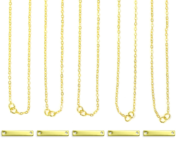 Personal Impressions<br>Small Rectangle - 5 Pieces<br>Gold Plated