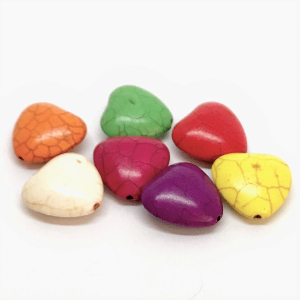 Heart Howlite Bead<br>Assorted Colours<br>Small (20mm)