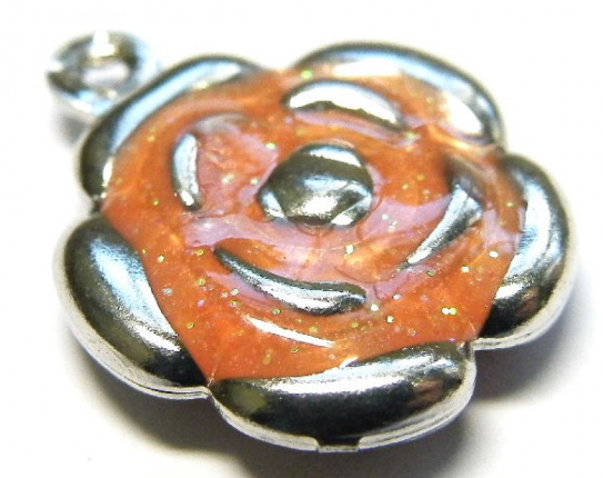 Cloisonne Flower Charm<br>Orange/Nickel Silver<br>18mm