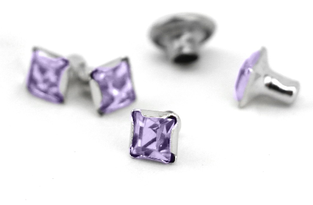 Czech Crystal Snap Rivets<br>Alexandrite<br>Square Shape, 5 pack