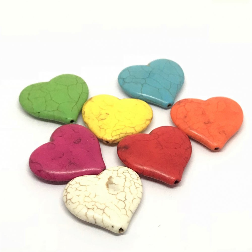 Heart Howlite Bead<br>Assorted Colours<br>Large (35mm)