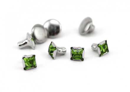 Czech Crystal Snap Rivets<br>Peridot<br>Square Shape, 5 pack