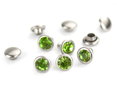Czech Crystal Snap Rivets<br>Light Green/Emerald<br>Round Shape, 5 pack