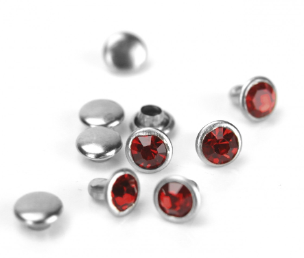 Czech Crystal Snap Rivets<br>Garnet<br>Round Shape, 5 pack