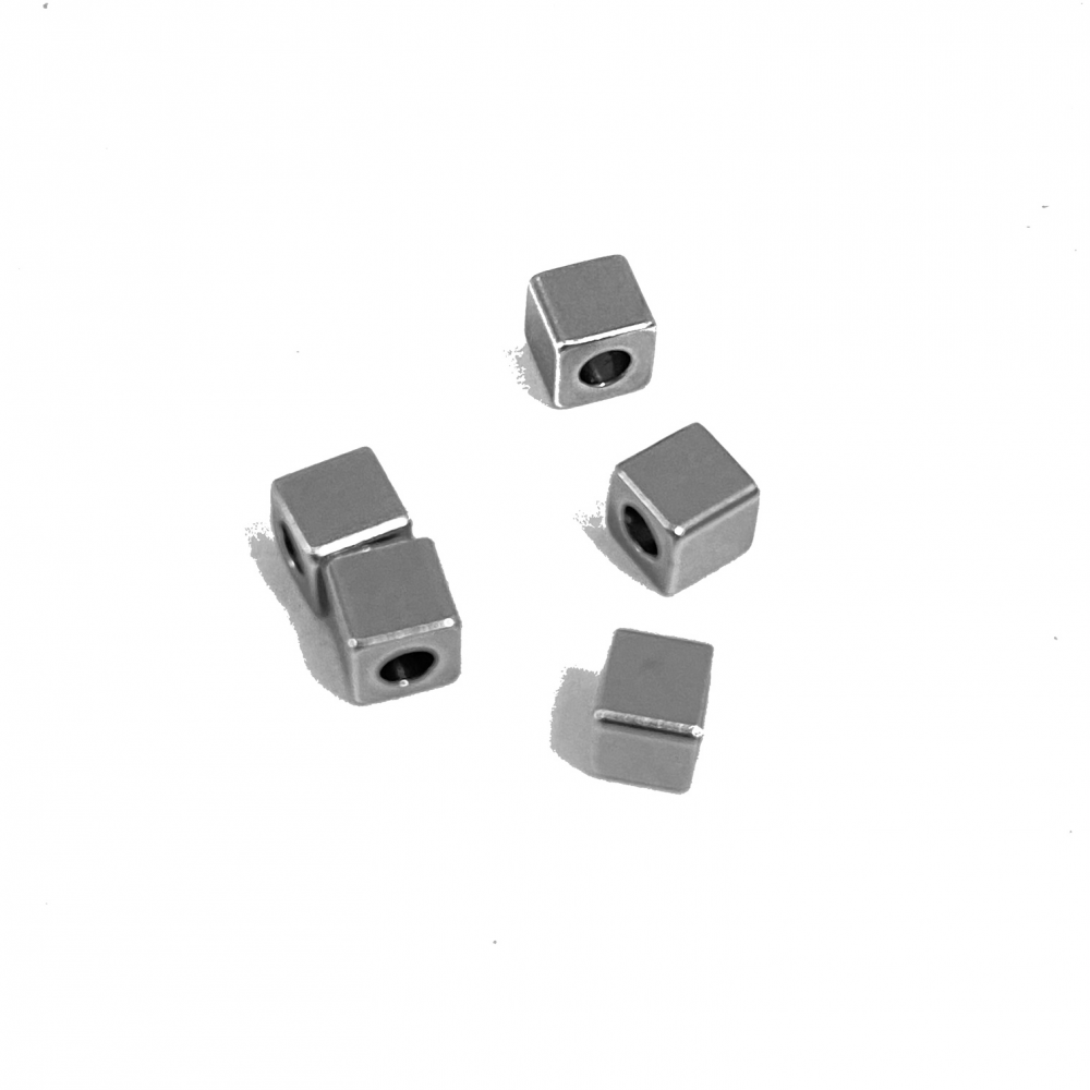 Cube + Hole<br>Stainless Steel Stamping Blank<br>5 Pack - 4mm